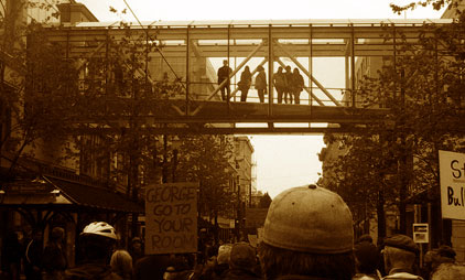 protest under a skywalk